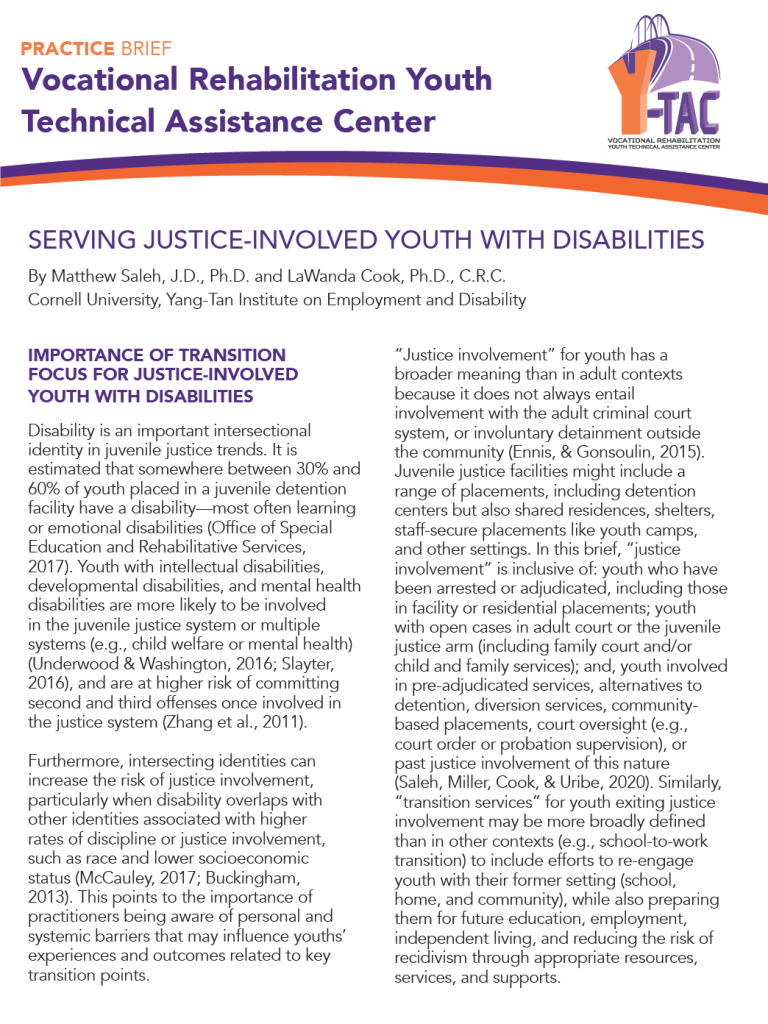 Practice Brief on Serving Justice-Involved Youth with Disabilities